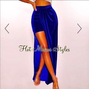 Royal Red Velvet Slit Maxi Skirt NWOT